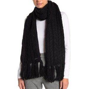 NWT Michael Kors Pointelle Cable Knit Scarf Black